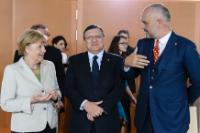 Angela Merkel, José Manuel Barroso and Edi Rama (in the foreground, from left to right)