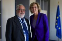 Connie Hedegaard, on the right, and Miguel Arias Cañete