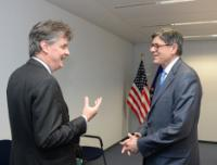 Discussion between Jack Lew, on the right, and Jonathan Hill