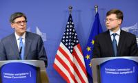 Jack Lew, on the left, and Valdis Dombrovskis