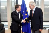 """Illustration of """"Visit of Justin Forsyth, Chief Executive of Save the Children UK, to the EC"""""""