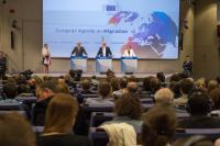 """Illustration of """"Joint press conference by Frans Timmermans and Federica Mogherini, Vice-Presidents of the EC, and Dimitris..."""