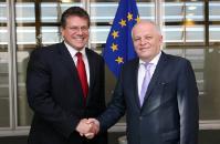 Visite de Stepan Kubiv, premier vice-Premier ministre ukrainien et ministre du Développement économique et du Commerce, et Vazil Hudák, vice-président de la Banque européenne d'investissement, à la CE
