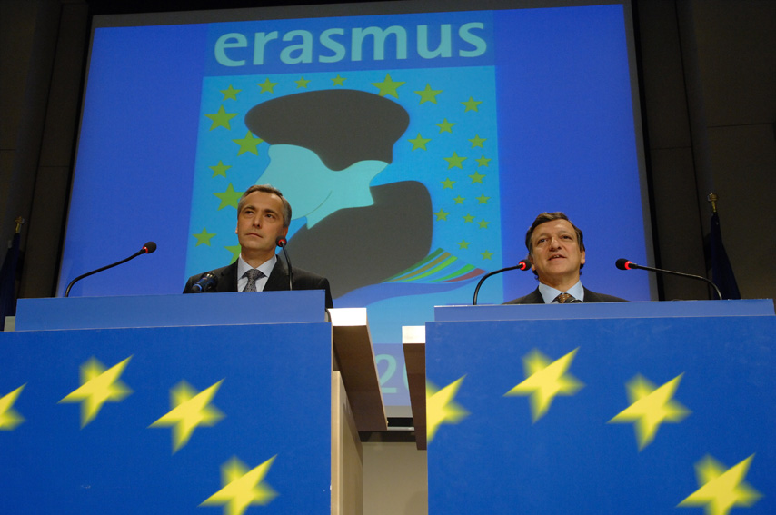 Press conference by José Manuel Barroso, President of the EC and Ján Figel', Member of the EC, on the 20th anniversary of the Erasmus programme