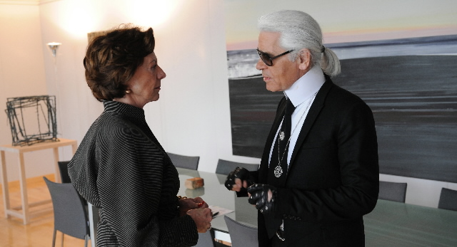 Visit of Karl Lagerfeld, German fashion designer, art director of Chanel fashion house, to the EC