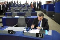 "Illustration of ""Participation of José Manuel Barroso, President of the EC, in the EP plenary session"""