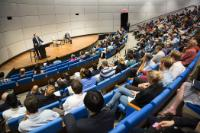 General view of the audience: David Cameron, on the right, listening to the speech by José Manuel Barroso, at the podium