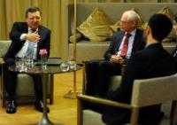 Herman van Rompuy, 2nd from the right, and José Manuel Barroso, on the left