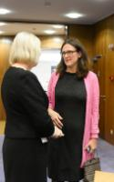 Discussion between Cecilia Malmström, on the right, and Catherine Day