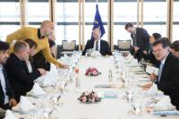 Working lunch on the partnership between the EC and the World Alliance for Efficient solutions, chaired by Maroš Šefčovič and Jyrki Katainen, Vice-Presidents of the EC, Carlos Moedas, Member of the EC, and Bertrand Piccard, President and Initiator of the Solar Impulse project