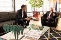 Visite de Pedro Sánchez, secrétaire général du Parti socialiste espagnol (PSOE) et leader de l'Opposition espagnol, à la CE