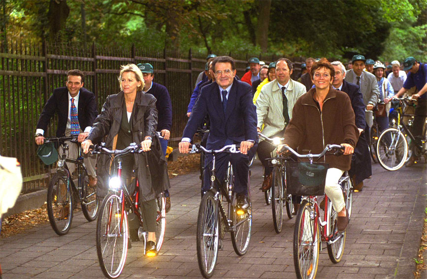 Bicycle Ride for Romano Prodi, Margot Wallström and Isabelle Durant