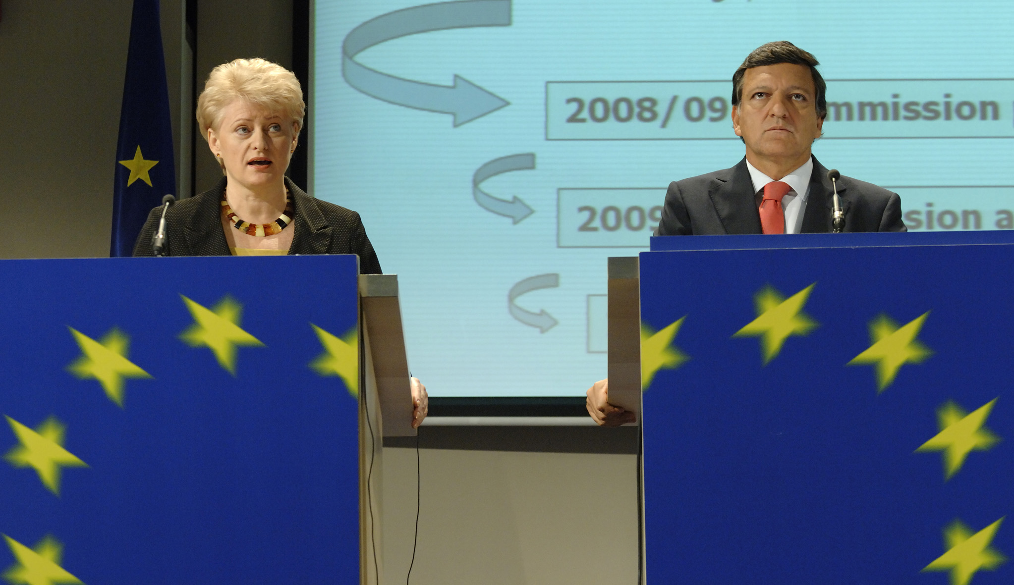 Press conference with José Manuel Barroso and Dalia Grybauskaitė on the launch of the Budget Review 2008/2009