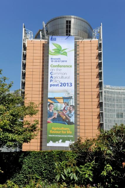 The Berlaymont building with the poster for the conference on the CAP (Common Agricultural Policy) post 2013