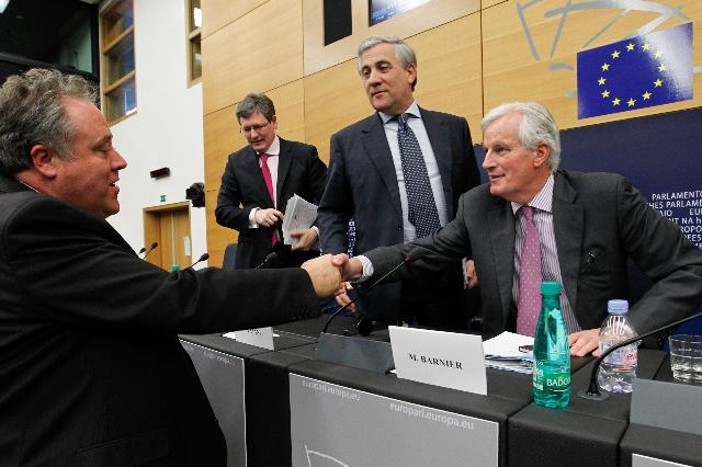 Joint press conference by Antonio Tajani, László Andor and Michel Barnier, Members of the EC, on the Responsible Business Package