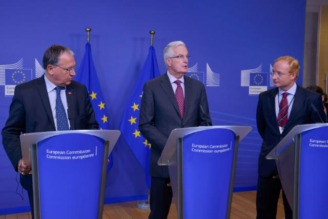 Joint press conference by Michel Barnier, Member of the EC, Benoît Battistelli, President of the EPO, and António Campinos, President of the OHMI and CEIPI, on intellectual property rights