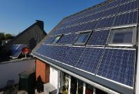 The roof of the RWE future house (RWE-Zukunftshaus) with solar energy