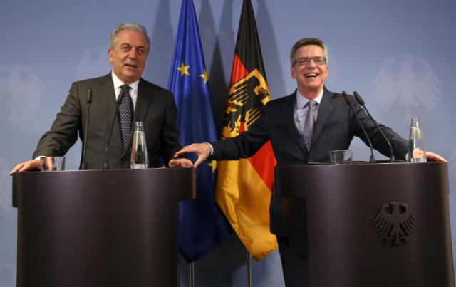 Joint press conference by Dimitris Avramopoulos, Member of the EC, and Thomas de Maizière, German Federal Minister for the Interior