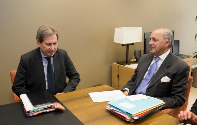 Meeting between Johannes Hahn, Member of the EC, and Laurent Fabius, French Minister for Foreign Affairs and International Development