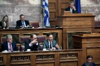 Alexis Mitropoulos, First Deputy Speaker of the Greek Parliament; Chair of the Special Standing Committee on European Affairs of the Greek Parliament, above, on the right, and Panayotis Carvounis and Giorgos Stathakis, listening to the speech by Jyrki Katainen, in the 1st row, from left to right