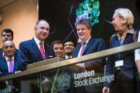 Cérémonie d'ouverture de la Bourse de Londres avec la participation de Jonathan Hill, membre de la CE