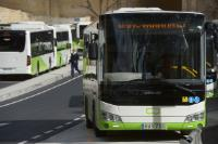 A Maltese bus waiting at the bus terminus in Valletta