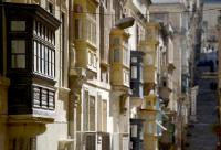 Traditional Maltese balconies in the streets of Valletta