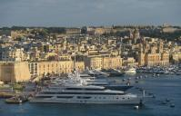 Luxury yachts moored at The Grand Harbour Marina in Birgu, Malta