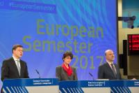 Press conference by Valdis Dombrovskis, Vice President of the EC, Pierre Moscovici and Marianne Thyssen, Members of the EC, on the conslusions of the College's orientation debate on the 2017 European Semester - country reports