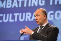 Conférence de presse de Pierre Moscovici, membre de la CE sur la lutte contre les importations illégales et le trafic de biens culturels provenant de l'extérieur de l'Union européenne
