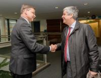 Visite de Mário Centeno, ministre portugais des Finances et président élu de l'Eurogroupe, à la CE