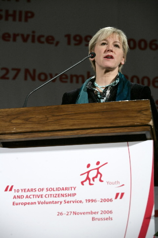 Ján Figel', Member of the EC, and Margot Wallström, Vice-President of the EC, at the 10th anniversary of the European Voluntary Service