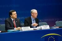 Herman van Rompuy, on the right, and José Manuel Barroso
