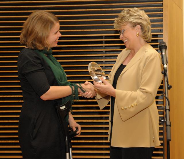 Participation of Viviane Reding, Vice-President of the EC, at the ceremony for the European Union's Journalist Award For diversity. Against discrimination