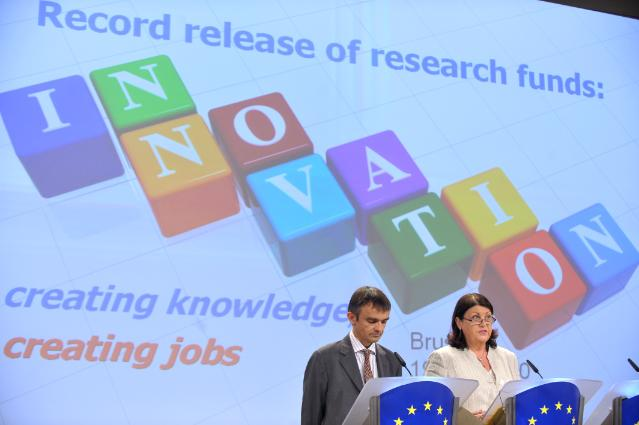 Press conference by Máire Geoghegan-Quinn, Member of the EC, on a € 6.4 billion EC investment in research and innovation to boost jobs