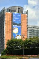 Banner at the EC Berlaymont's frontage, to welcome Estonia in the Euro zone