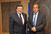 Visit of Michel Platini, President of the UEFA, to the EC