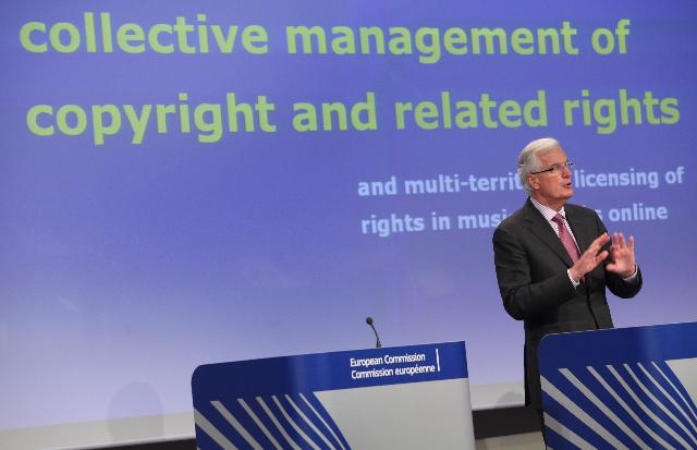 Press conference by Michel Barnier, Member of the EC, on the legislation proposed by the Commission on collective rights management