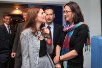 With Vlora Çitaku, Minister for European Integration of Kosovo. Handover of the visa liberalisation roadmap to the Kosovo authorities, Brussels, 14 June 2012.