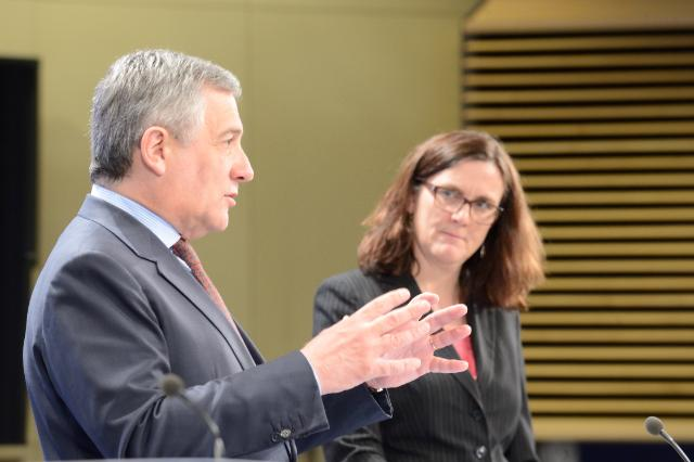 Joint press conference by Antonio Tajani, Vice-President of the EC, and Cecilia Malmström, Member of the EC, on more flexible visa rules to boost growth and job creation