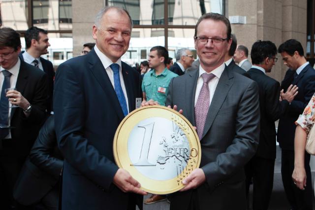 Participation de Jyrki Katainen, vice-président de la CE, et Algirdas Šemeta, membre de la CE, aux festivités pour célébrer l'élargissement de la zone euro à la Lituanie