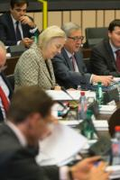 Margaritis Schinas, Chief Spokesperson of the EC, behind, Catherine Day, Secretary-General of the EC, Jean-Claude Juncker and Martin Selmayr, his Head of cabinet (full-face, from left to right)