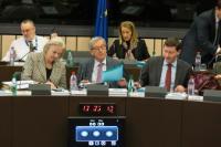 Catherine Day, Secretary-General of the EC, Jean-Claude Juncker, Clara Martinez Alberola, Deputy Head of his cabinet, behind, and Martin Selmayr, Head of cabinet of Jean-Claude Juncker (from the 2nd, from left to right)