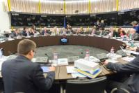 Round table: Jyrki Katainen, Vice-President of the EC in charge of Jobs, Growth, Investment and Competitiveness, Maroš Šefčovič, Vice-President of the EC in charge of Energy Union, Kristalina Georgieva, Vice-President of the EC in charge of Budget and Human Resources, Frans Timmermans, First Vice-President of the EC in charge of Better Regulation, Inter-Institutional Relations, the Rule of Law and the Charter of Fundamental Rights, Catherine Day, Secretary-General of the EC, Jean-Claude Juncker, Martin Selmayr, his Head of cabinet, Federica Mogherini, High Representative of the Union for Foreign Affairs and Security Policy and Vice-President of the EC, Andrus Ansip, Vice-President of the EC in charge of Digital Single Market, Valdis Dombrovskis, Vice-President of the EC in charge of the Euro and Social Dialogue, Günther Oettinger, Member of the EC in charge of Digital Economy and Society, Cecilia Malmström, Member of the EC in charge of Trade, Miguel Arias Cañete, Member of the EC in charge of Climate Action and Energy, Margrethe Vestager, Member of the EC in charge of Competition, standing, and Carlos Moedas, Member of the EC in charge of Research, Science and Innovation (in a clockwise direction)