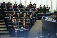 Speech by Jean-Claude Juncker, standing, in the presence of, from left to right, in the 1st row: Frans Timmermans, First Vice-President of the EC in charge of Better Regulation, Inter-Institutional Relations, the Rule of Law and the Charter of Fundamental Rights,  in the 2nd row: Andrus Ansip, Vice-President of the EC in charge of Digital Single Market, in the 3rd row: Maroš Šefčovič, Vice-President of the EC in charge of Energy Union, Valdis Dombrovskis, Vice-President of the EC in charge of the Euro and Social Dialogue, and Jyrki Katainen, Vice-President of the EC in charge of Jobs, Growth, Investment and Competitiveness, in the 4th row: Günther Oettinger, Member of the EC in charge of Digital Economy and Society, Neven Mimica, Member of the EC in charge of International Cooperation and Development,  Miguel Arias Cañete, Member of the EC in charge of Climate Action and Energy, and Dimitris Avramopoulos, Member of the EC in charge of Migration, Home Affairs and Citizenship, in the 5th row: Marianne Thyssen, Member of the EC in charge of Employment, Social Affairs, Skills and Labour Mobility, Christos Stylianides, Member of the EC in charge of Humanitarian Aid and Crisis Management, Phil Hogan, Member of the EC in charge of Agriculture and Rural Development, and Jonathan Hill, Member of the EC in charge of Financial Stability, Financial Services and Capital Markets Union, in the 6th row: Violeta Bulc, Member of the EC in charge of Transport, Elżbieta Bieńkowska, Member of the EC in charge of Internal Market, Industry, Entrepreneurship and SMEs, Vĕra Jourová, Member of the EC in charge of Justice, Consumers and Gender Equality, Tibor Navracsics, Member of the EC in charge of Education, Culture, Youth and Sport, and Corina Creţu, Member of the EC in charge of Regional Policy, in the 7th row: Margrethe Vestager, Member of the EC in charge of Competition, Carlos Moedas, Member of the EC in charge of Research, Science and Innovation, Martin Selmayr, Head of cabinet of Je