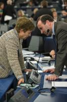 Discussion between Manfred Weber, on the right, and Kristalina Georgieva