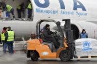 Workers unloading humanitarian aid from the Boeing 737 cargo