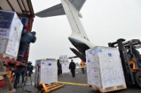 Unloading of the Boeing 737 cargo carrying humanitarian supplies to Ukraine