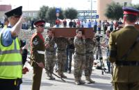 Maltese soldiers carrying the coffins during the funeral of the 24 migrants who lost their lives on 19 April 2015 while trying to cross the Mediterranean Sea