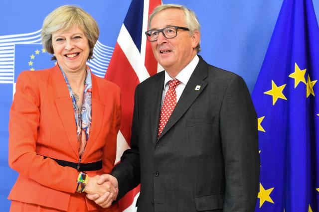 Jean-Claude Juncker, President of the EC, received Theresa May, British Prime Minister